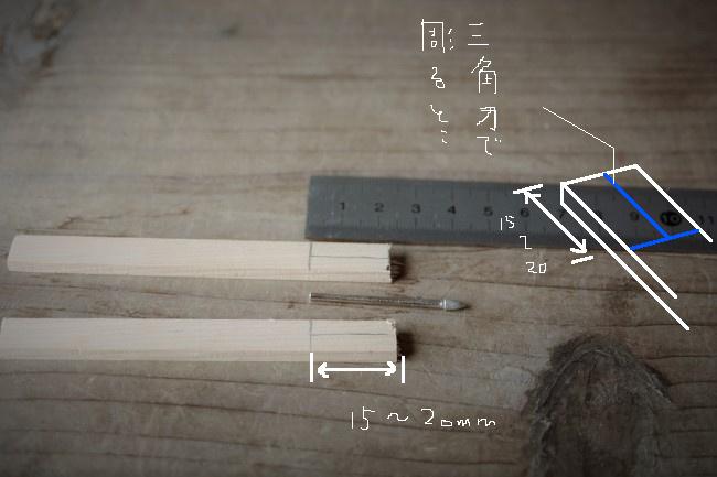 ビットの軸を入れる深さに鉛筆で目印を描く