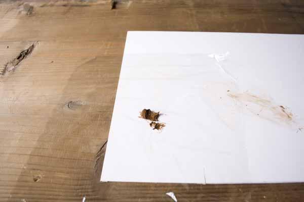金継ぎで使う錆漆の作り方。サランラップの中央に錆漆が載りました。