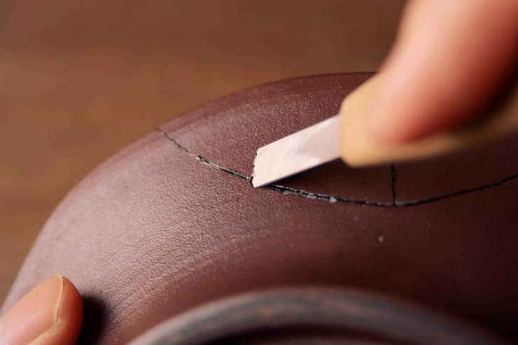 金継ぎ工程 麦漆の削り