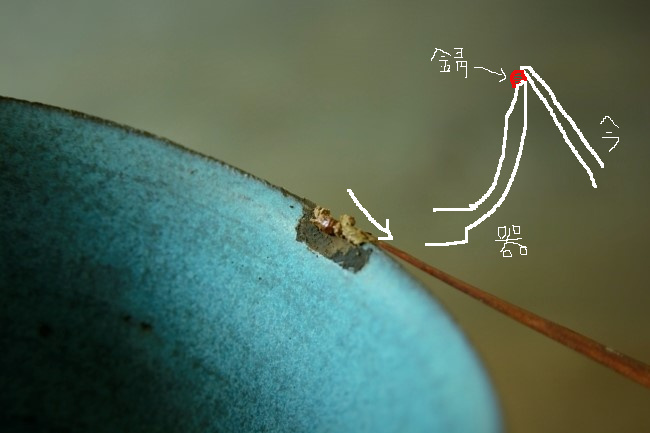 錆付けは欠けのエッジを利用して錆漆をヘラで載せていく