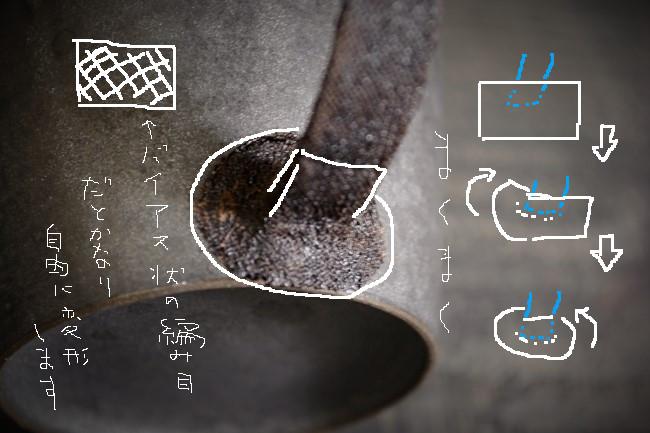 取っ手の補強のやり方としては麻布を巻いて麦漆で接着する