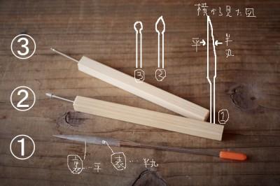 金継ぎの素地調整工程で使う道具の画像