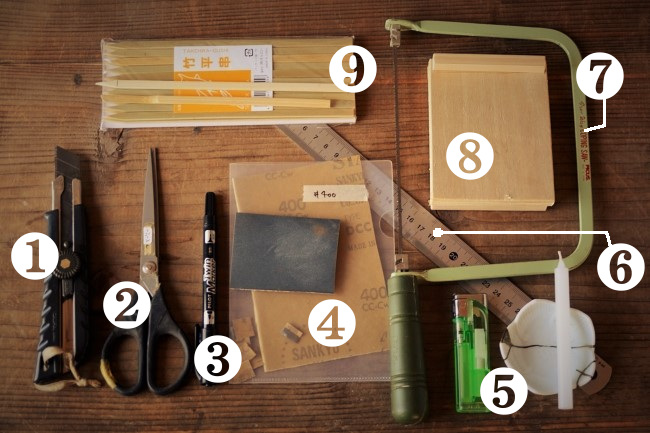 金継ぎのへら作り作業で使う道具と材料のお店と値段