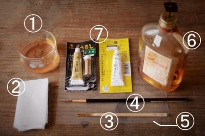 金継ぎの塗り作業で使う道具と材料のお店と価格