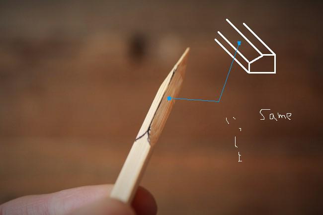 刻苧箆作りの工程。カッターで削る