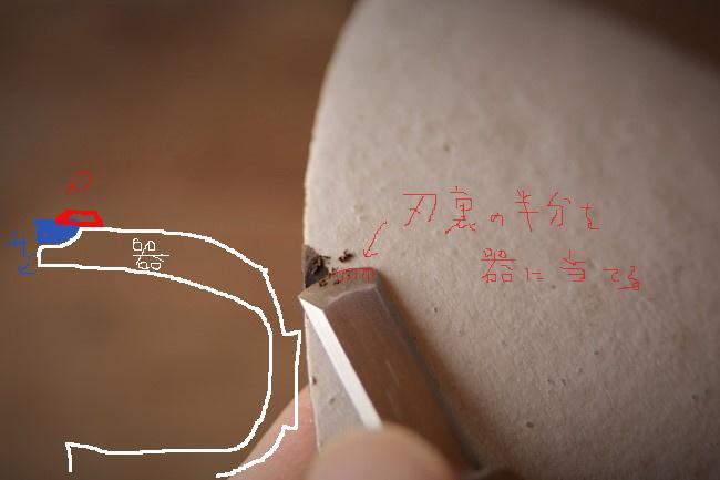 刃のもの半分くらいを器に当てて、それをガイドにしながら錆を削る