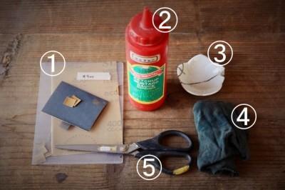 金継ぎのエポキシペースト研ぎ作業で使う道具と材料