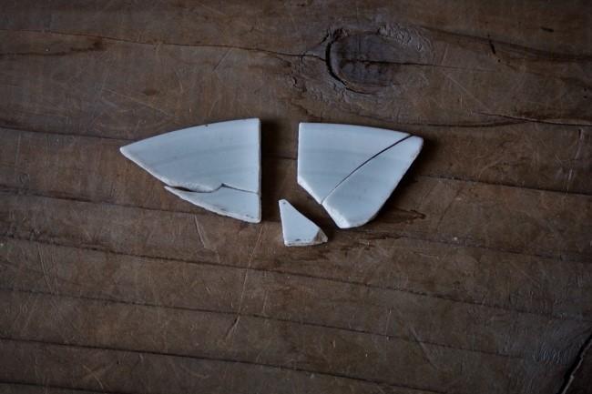割れた平皿の小さな破片