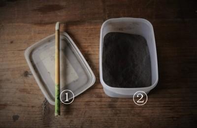 蒔き地で使う道具と材料