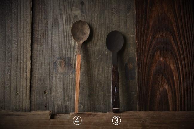 木のスプーンに錆漆と付け、それが乾いたら研ぐ