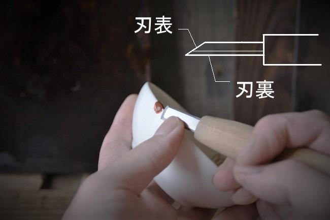 修理箇所に盛ったエポキシ錆を彫刻刀で削る