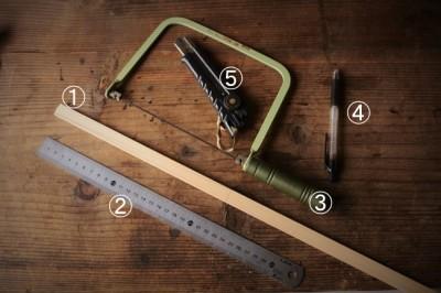 金継ぎで使う檜箆の作りで使う道具と材料