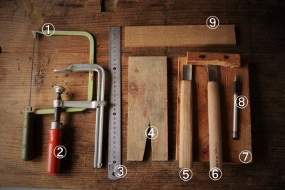 木製アイス・スプーン作りで用いる道具と材料