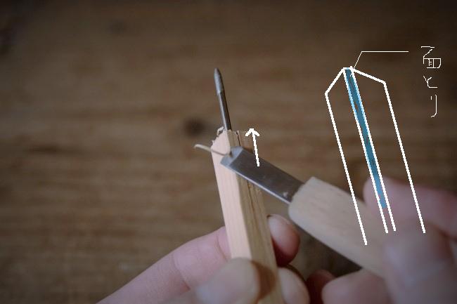 彫刻刀でグリップのエッジを軽く削る