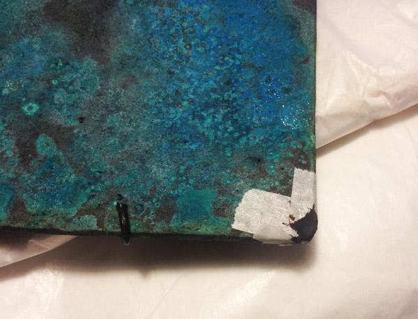 金継ぎ工程の錆漆の乾燥後