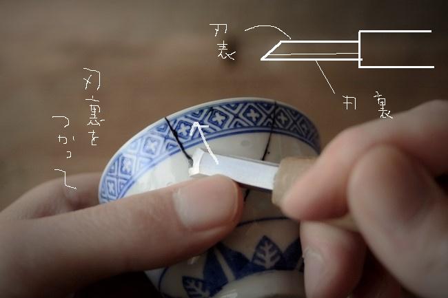 器からはみ出した接着剤を刃物で削る