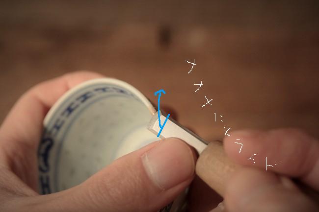 エポキシペーストを彫刻刀で削る
