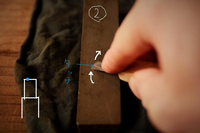 金継ぎで使う彫刻刀を砥石で研ぐ