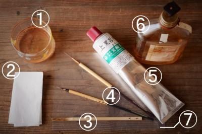 金継ぎの漆の上塗り作業で使う道具と材料