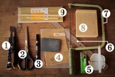 へら作りで使う道具と材料
