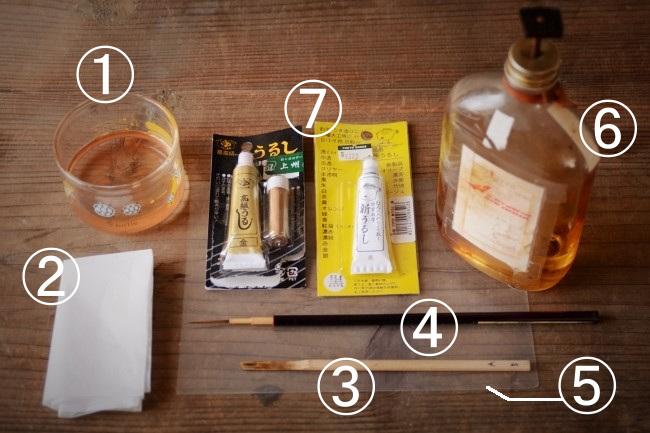 簡単な金継ぎの新うるし塗り作業で使う道具と材料