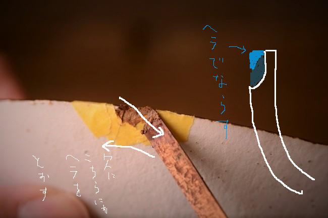 反対側にもヘラを通して錆漆を密着させる。