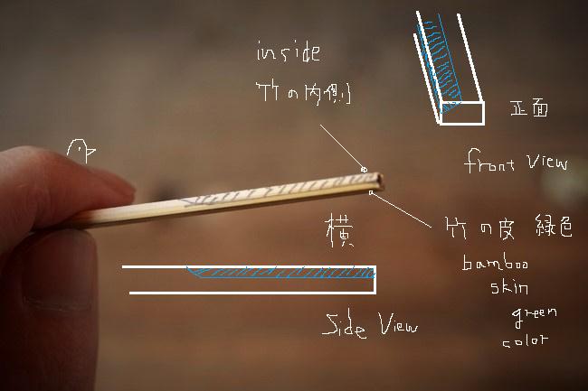 竹串の右半分をカッターで削る