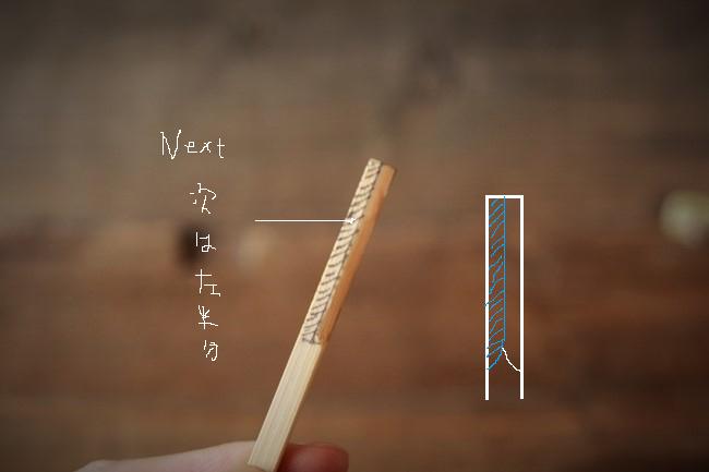 次に竹串の左半分をカッターで削る