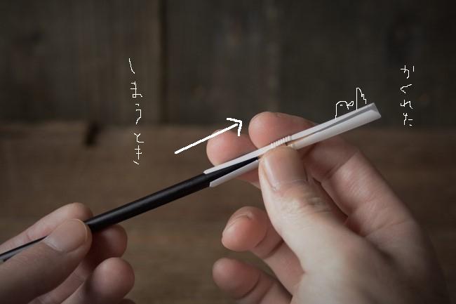 使い終わって保管する時には筆先が完全に隠れるようにキャップをずらす