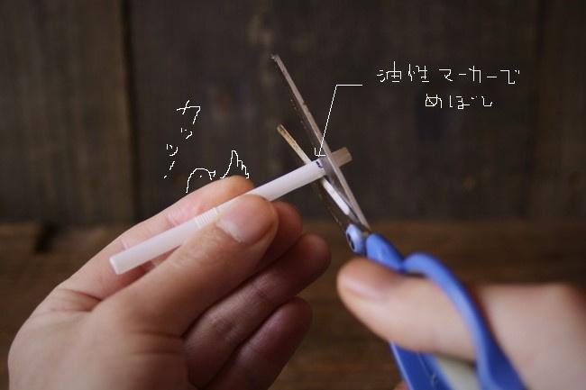 決めた長さの所で、はさみを使って切る