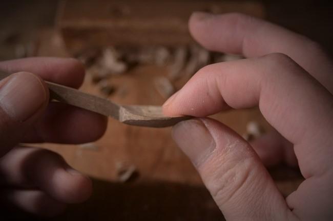 木のスプーンの頭分部の彫り方