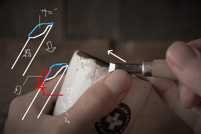 乾いた錆漆を彫刻刀で削る