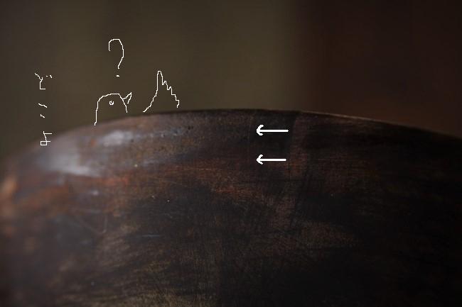 ひびの入った木の器の金継ぎ修理前